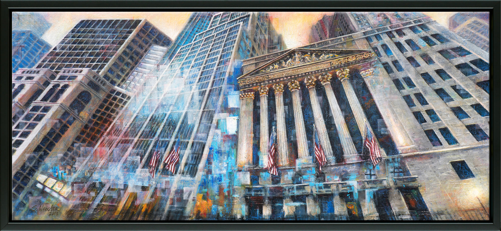 Wall St. Vertigo New York Stock Exchange canvas print with floating frame