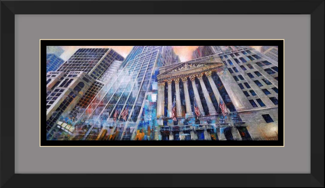 Wall St. Vertigo New York Stock Exchange framed and matted print