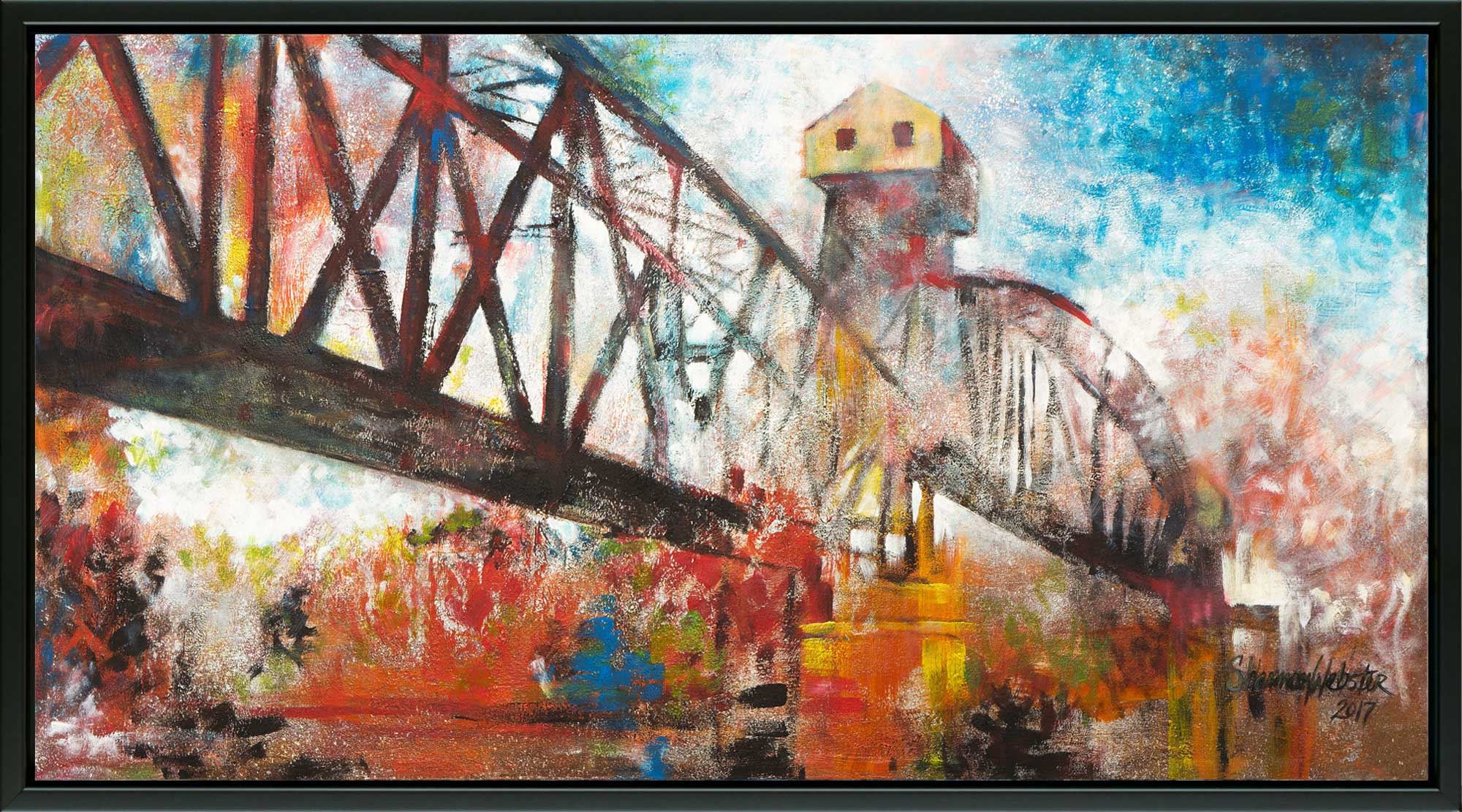 Crossing over MKT Railroad Bridge canvas print with floating frame