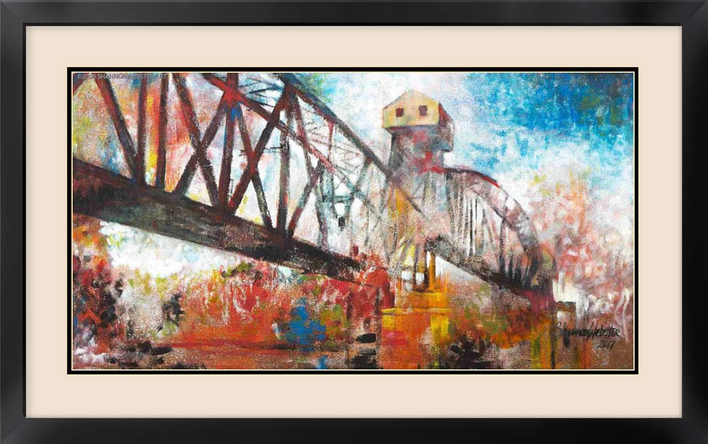 Matted print of MKT Railroad Bridge painting Boonville, Missouri