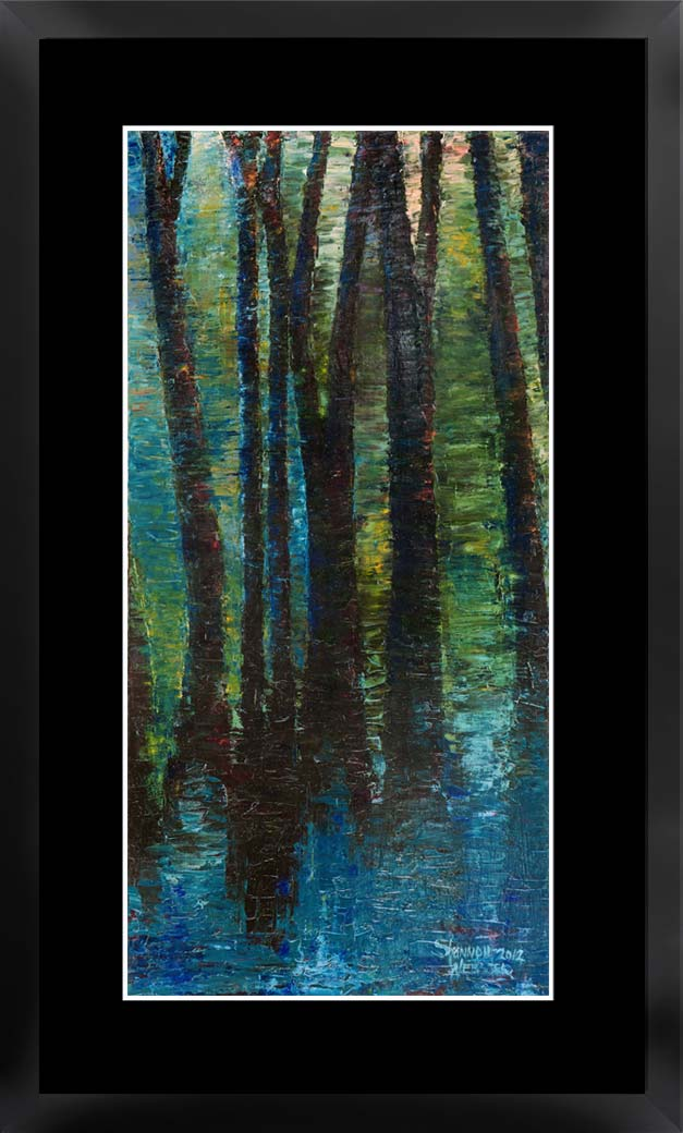 Trees & Water framed and matted print