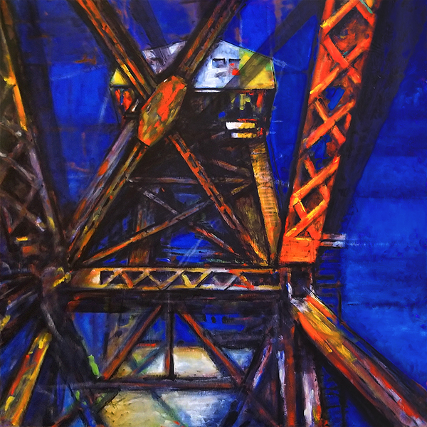 Katy Railroad Bridge oil painting Boonville, Missouri
